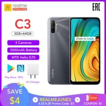 "Realme C3 Globale Versione 3GB di RAM 64GB ROM Pro Telefono Cellulare MTK Helio G70 CPU 12MP Macchina Fotografica 6.5 ""Mini-goccia Fullscreen 5000mAh NFC"