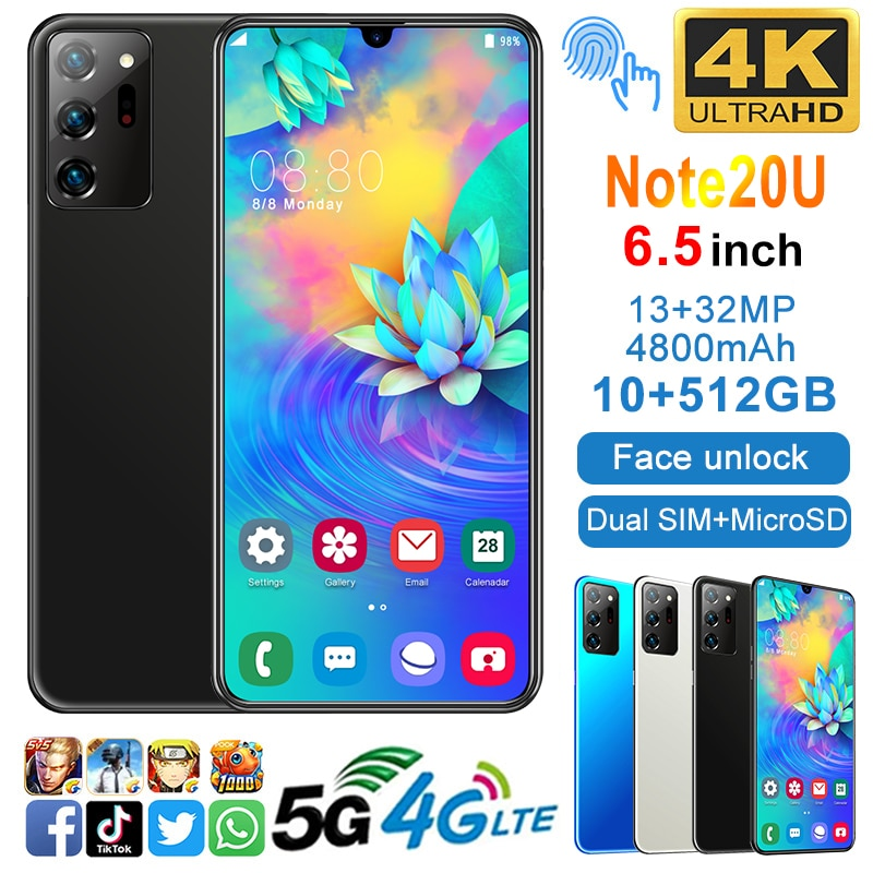 6.7inch Note20U 4800mAh Battery 10GB+512GB Android 10.0 5G 10 Core Face ID Dual Sim Smartphones 13MP+32MP