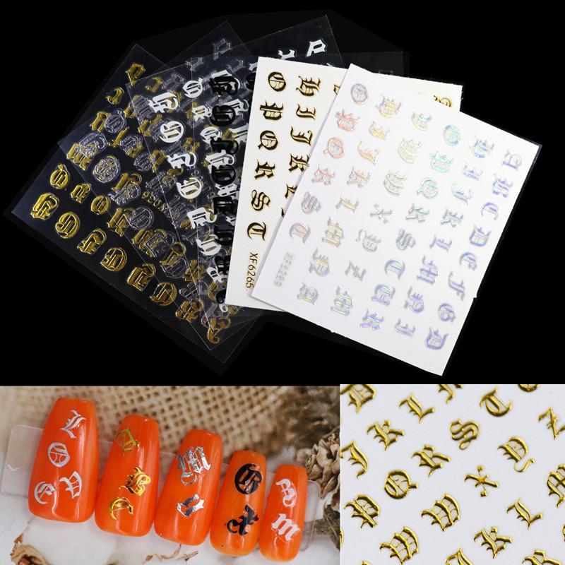 1 Set letra 3D Nail Art Sticker Etiqueta de uñas negro claro láser palabras carácter adhesivo pegatinas de uñas decoración de uñas DIY