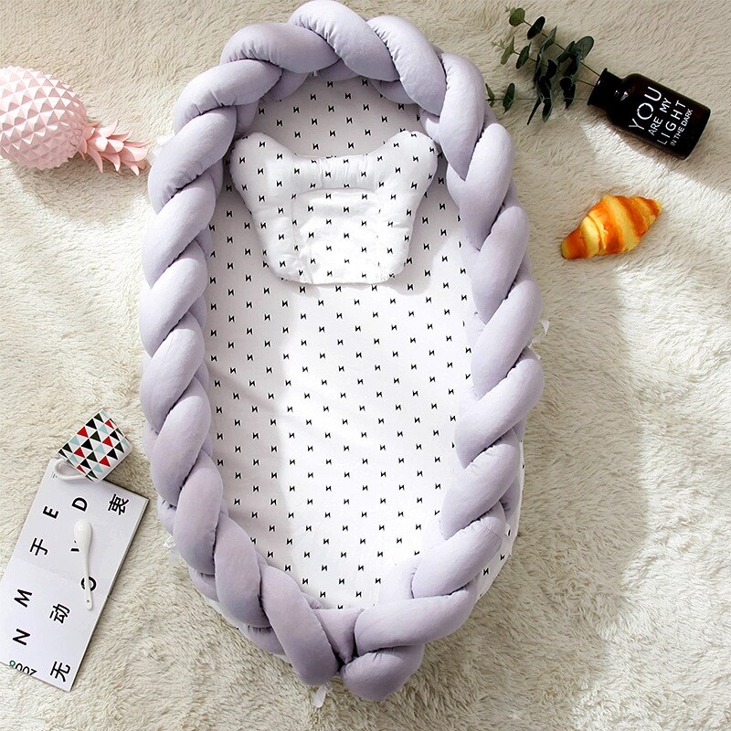 Crib Cotton Woven Folding Portable Baby Pillow Bed Bionic Removable and Washable Baby Nest Stereo Protective Baby Bed The Fence enlarge