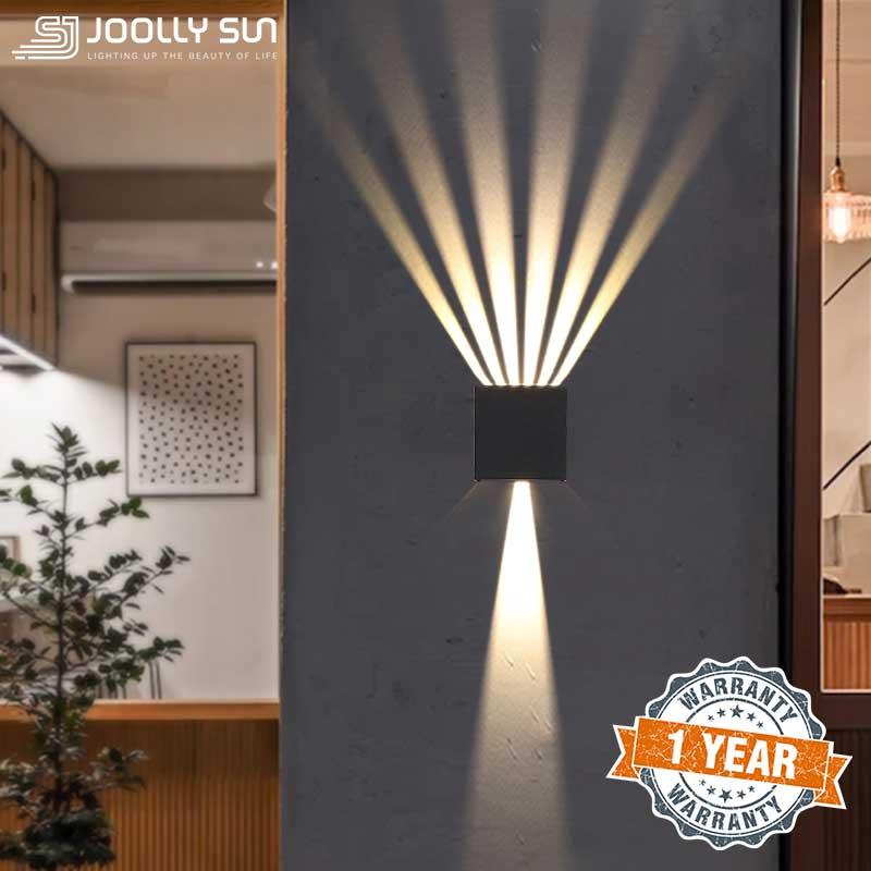 JoollySun-مصباح حائط LED مقاوم للماء بزاوية قابلة للتعديل ، تصميم حديث ، إضاءة زخرفية خارجية ، مثالي للشرفة