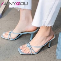 annymoli slippers shoes women real leather sandals high heel square toe slides flip flop stiletto ladies footwear summer blue 41