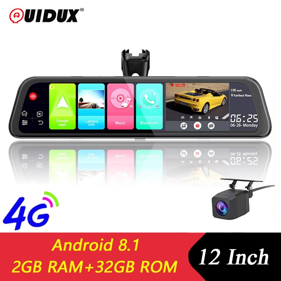"QUIDUX 4G 12 ""coche espejo Video Android 8,1 cámara de salpicadero GPS Navigator ADAS FHD 1080P Cámara Dual espejo retrovisor DVR grabadora"