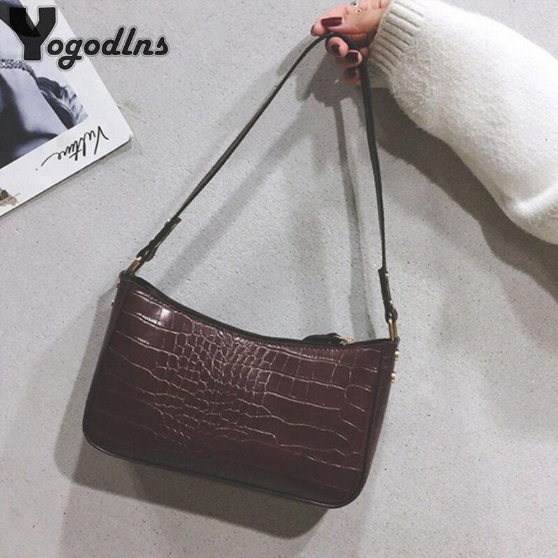 Sacs à bandoulière rétro pour femmes, sacoche à motif Crocodile, sacoche aisselle en cuir, sacs Baguette avancés Design Fashion sacs à main en polyuréthane