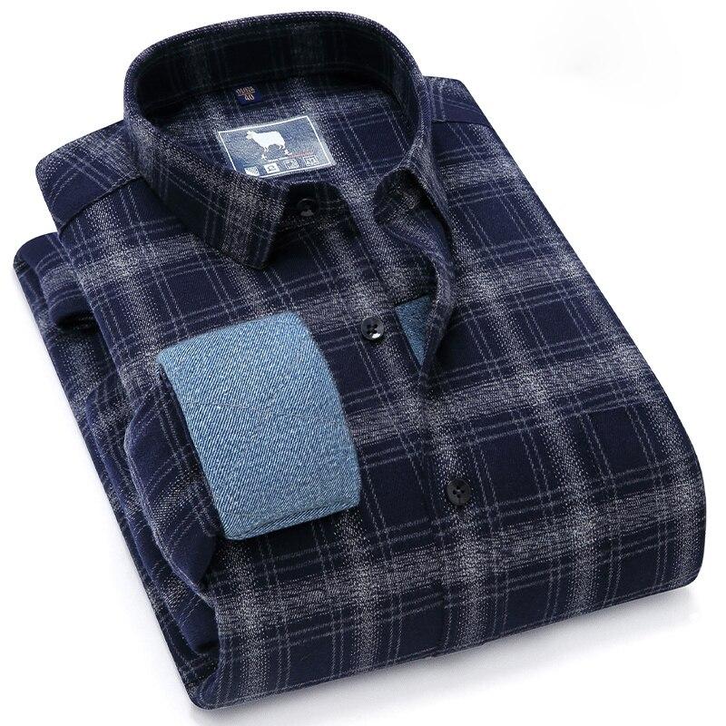 Мужская модная рубашка с шерстяной подкладкой, утепленная рубашка с длинным рукавом, зимняя теплая клетчатая Повседневная стильная мужска...