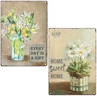 Chic paquerettes douce maison citron Floral Vintage etain barre signe salle de bains mur Art fleur peinture pays decor a la maison 2Pcs-8X12Inch