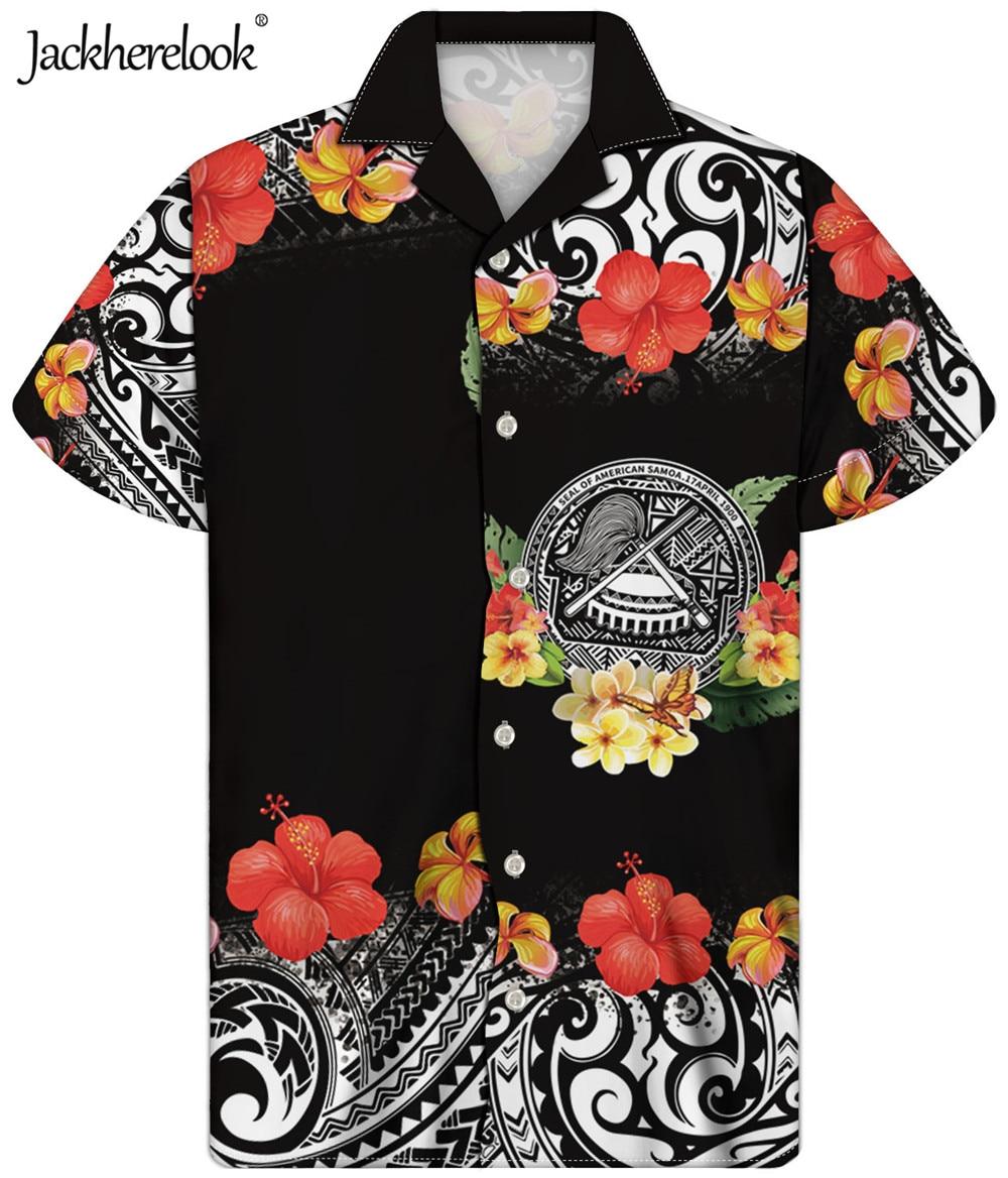 Jackherelook-camisas informales de Estilo Hawaiano para Hombre, Camisa con estampado de Polinesia,...