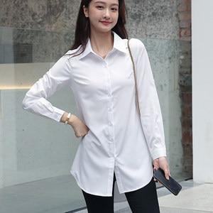 Women Shirts White Shirt Women Long Sleeve Shirts Cotton Woman Blouse Tops Plus Size Office Lady Long Shirt Woman Pink Blouses