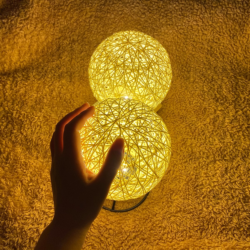 Iron Base LED Rattan Ball Night Light USB Powered Home Bedroom Decorative Lamp Children Bedroom Cute Night Lamp
