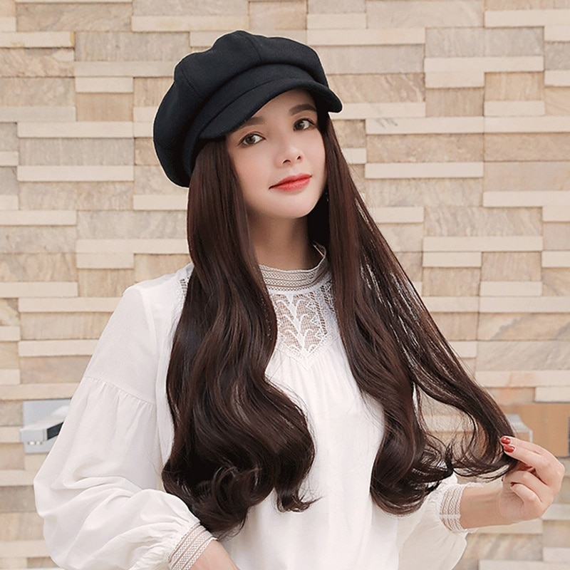 Рыбацкие шляпы с накладными волосами, черные шапки с накладными волосами, длинные волнистые волосы для женщин, для ежедневной вечеринки, но...