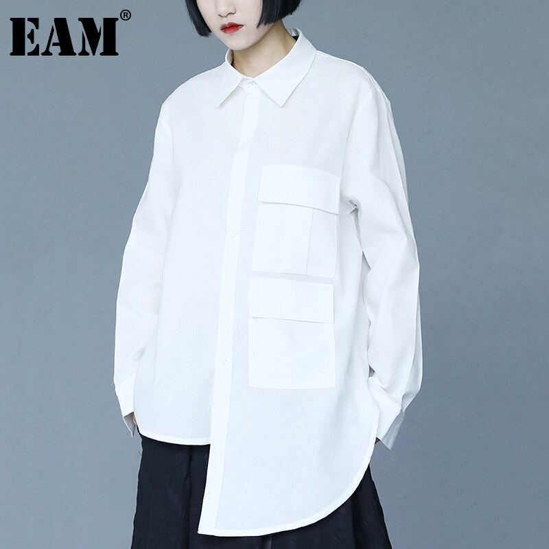 [EAM] بلوزات نسائية سوداء غير منتظمة بجيوب كبيرة وأكمام طويلة فضفاضة قميص مناسب لربيع وخريف 2021 1DD9448