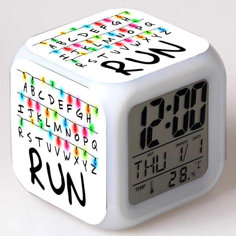 Часы с будильником и цифрой 2 Eleven, цветные настольные часы с сенсорным освещением, игрушки-фигурки