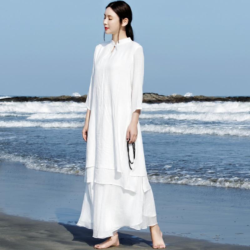 2021 الصينية تحسين hanfu القطن و الكتان اليوسفي طوق فستان لون نقي الصيف الرجعية الشاي الفن فستان كاجوال الحديثة تانغ دعوى