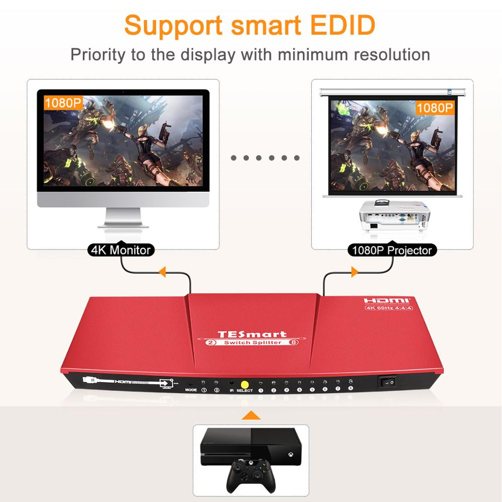 TESmart switch HDMI splitter 2 in 8 output HDMI switch 4K 60Hz 2.0.HDR enlarge