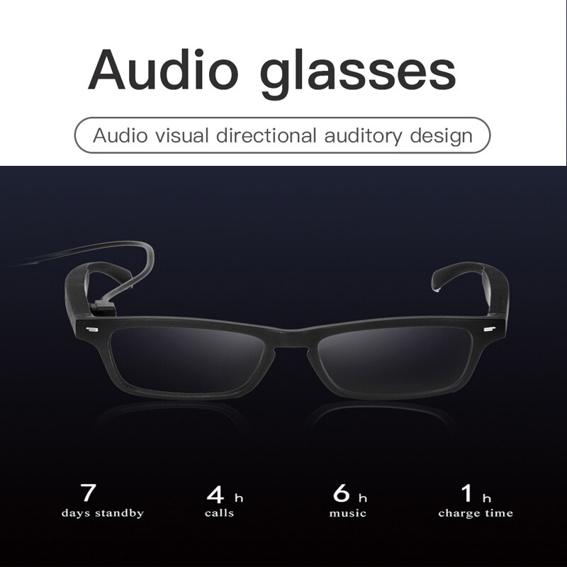 Smart Glasses Non Bone Conduction Bluetooth Audio Headphone With Mic Eye Protection Blue Light Proof