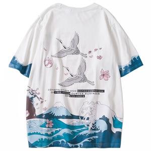 Hip Hop T Shirt Harajuku Crane Print Summer Short Sleeve T-Shirt Men 2020 Streetwear Japanese Great Wave Tshirt Cotton Japan Tee