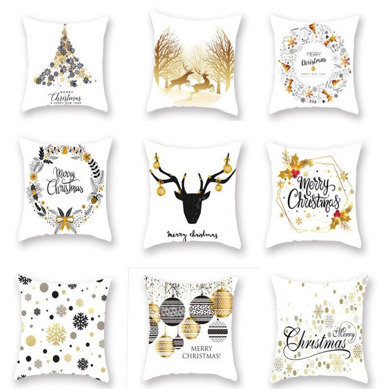 1 pçs 45x45cm algodão linho feliz natal capa almofada decoração de natal para casa feliz ano novo presente 2020 navidad noel-s