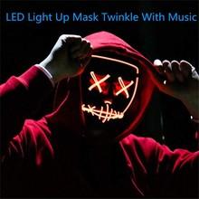 2020 Halloween masque LED Purge masques élection Mascara Costume DJ fête éclairer masques lueur dans lobscurité