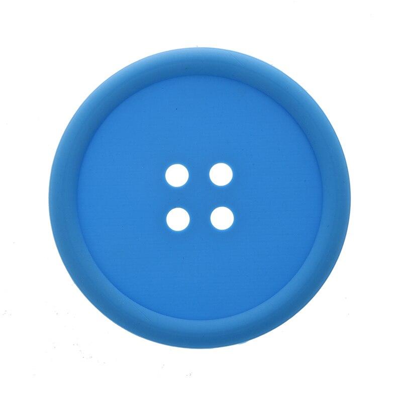 Grand bouton Silicone caboteur amusant nouveauté Design Kitsch rétro boissons napperon-bleu
