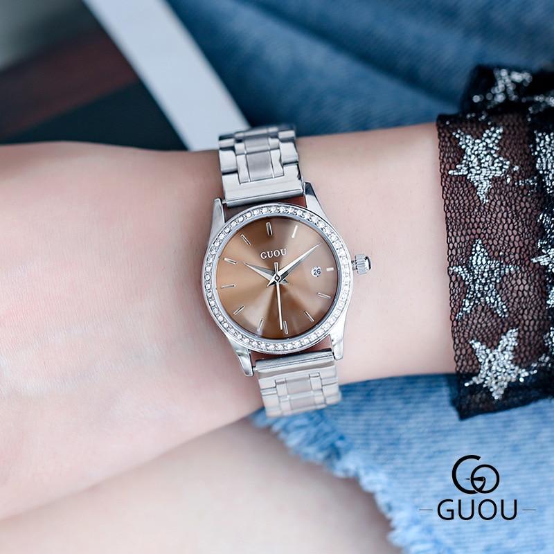 ساعة كوارتز نسائية مقاومة للماء مرصعة بالألماس, ساعة يد كوارتز للنساء بتصميم كاجوال فاخر وسوار من الجلد