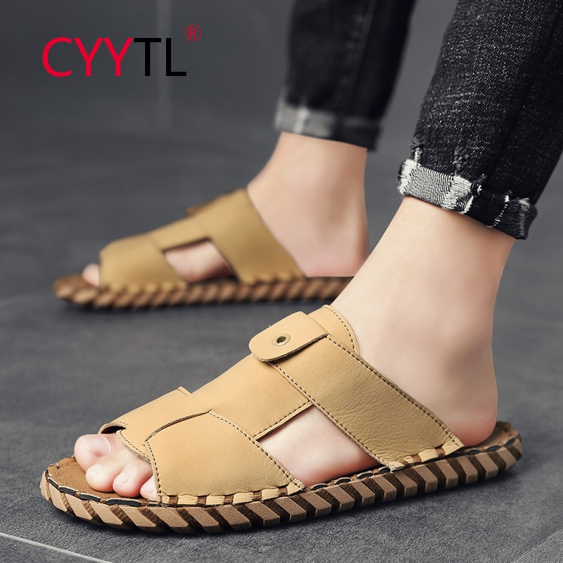 CYYTL Men's Hand Stitching Sandals Soft Leather Open Toe Outdoor Driving Fisherman Slippers Summer Walking Casual Flat Shoes