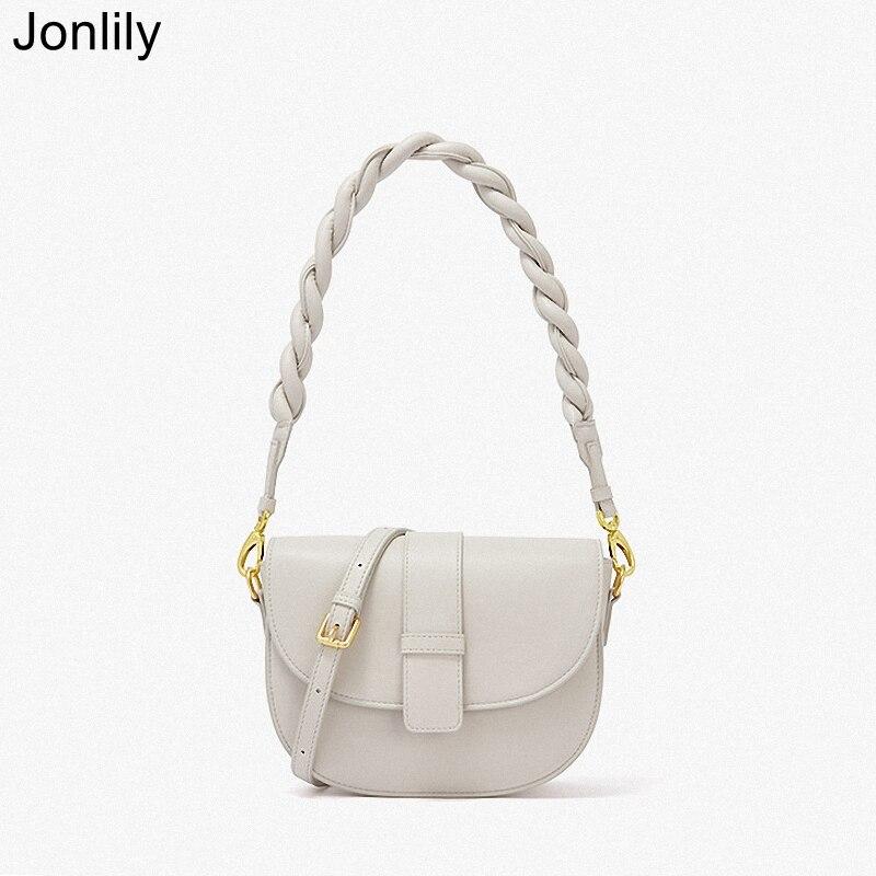 Jonlily-حقيبة كتف نسائية من الجلد الطبيعي ، حقيبة يد أنيقة تحت الإبط ، حقيبة كتف غير رسمية ، KG473
