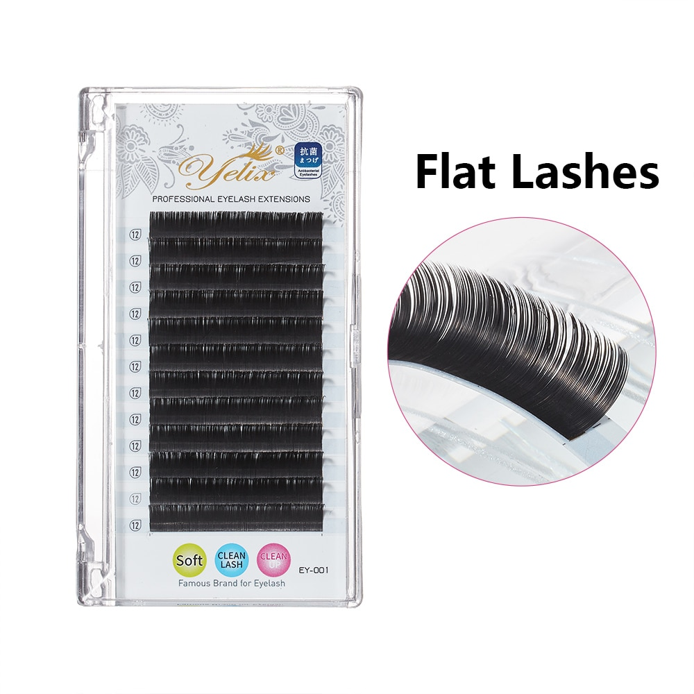Yelix New ellipse flat lashes High grade faxu Mink flat eyelash extensions individual eyelashes nature 8-15mm Mix makeup cilios