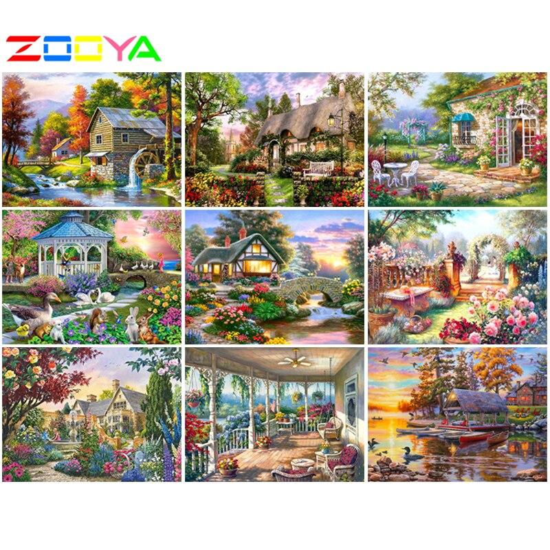 ZOOYA 5D DIY pintura de diamantes paisaje completo taladro flor diamante bordado casa punto de cruz jardín mosaico de diamantes decoración del hogar