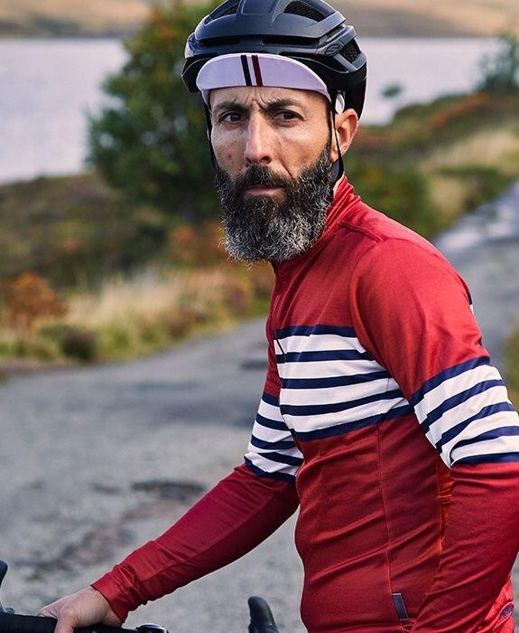 Pro equipo térmico polar manga larga Jersey Ciclismo RAYA ROJA hombres bicicleta...