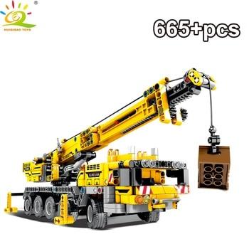 HUIQIBAO 665Pcs Engineering Derrick Car Model Building Blocks DIY Crane Technic City Construction Bricks Toys Children