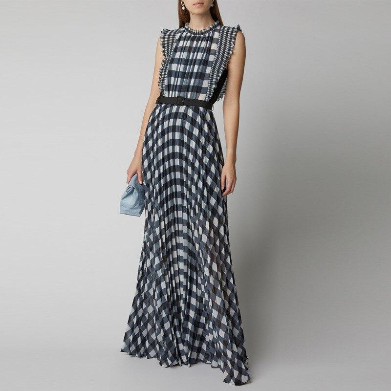 CBAFU new self portrait dresses women designer black white plaid chiffon long maxi dress ruffles sleeveless party dress F343