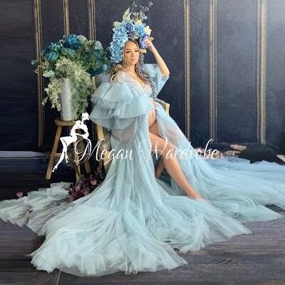 فستان زفاف طويل من التول الشفاف بأكمام قصيرة مكشكشة ، فستان سهرة مثير مع قطار لالتقاط الصور