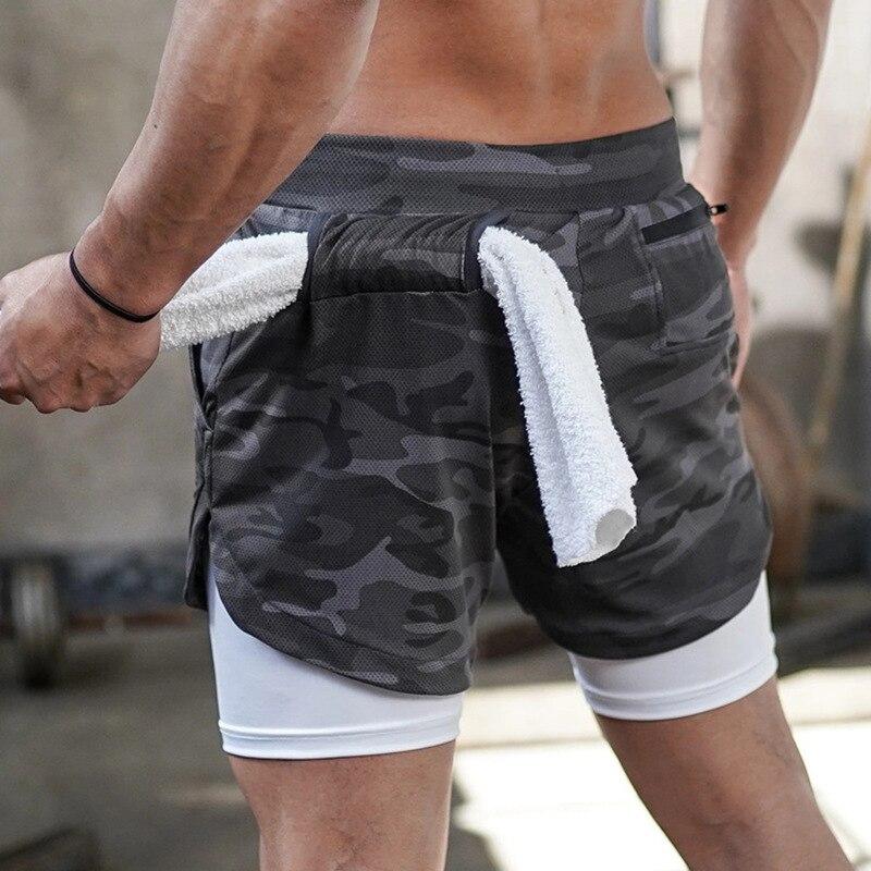 Мужские камуфляжные шорты для бега 2 в 1, двухуровневые быстросохнущие спортивные шорты для бега и тренировок, мужские спортивные шорты