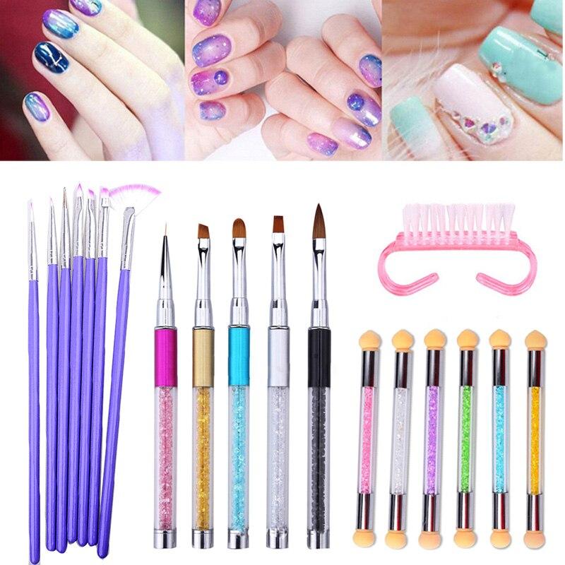 Profesional cepillo de uñas de esmalte de uñas de Gel UV pinceles de pintura y dibujo esponja manicura uñas de Arte de Dotting herramienta pluma