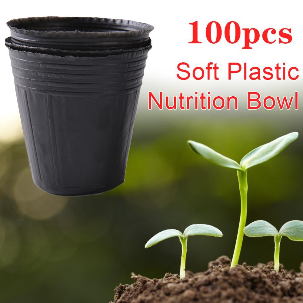 High Quality 100x Plastic Flower Pot Plant Nursery Flowerpot Seedlings Planter Containers Set Garden Plant Seedling Pots Tools