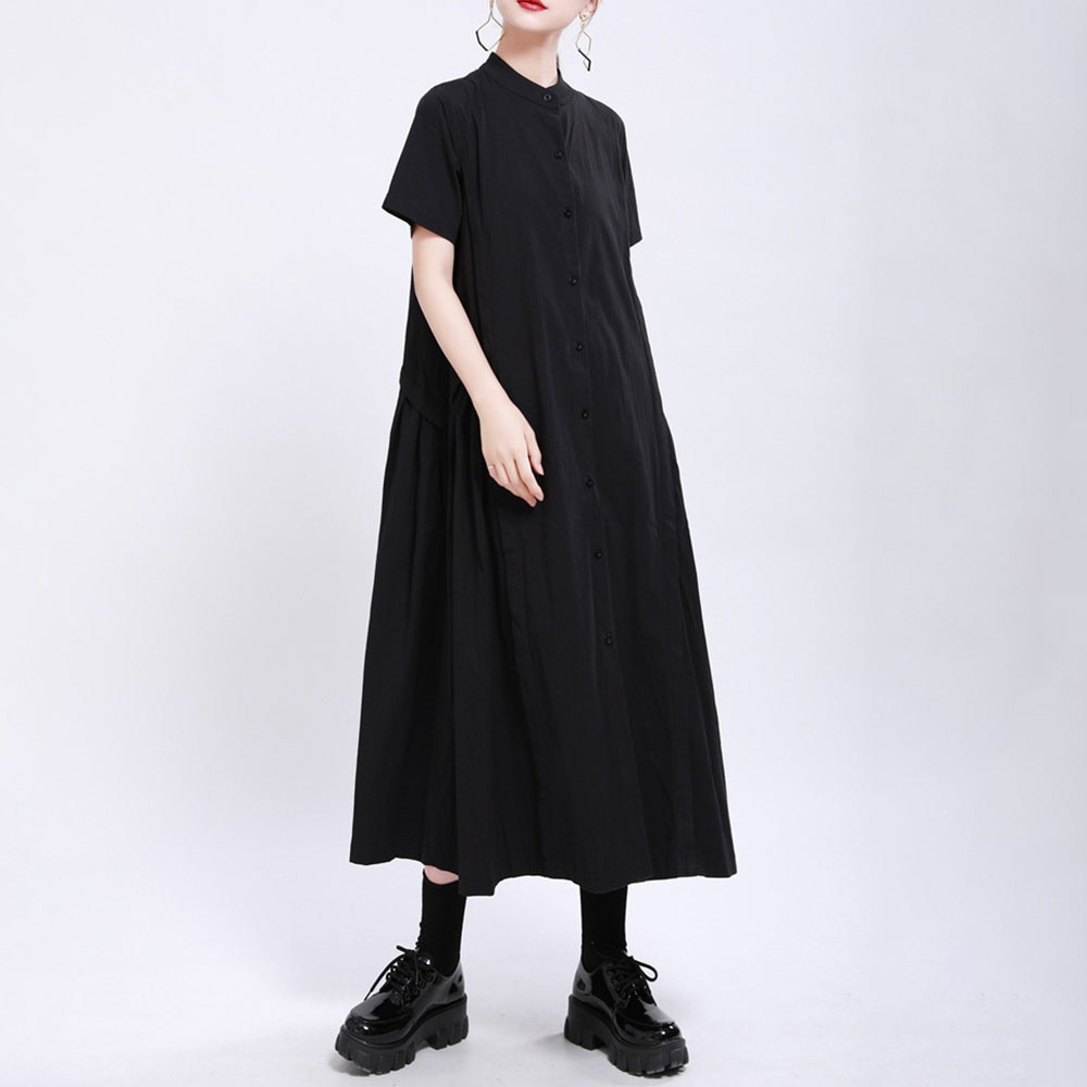 Dress Women's Summer 2021 New Japanese Style Solid Color Splicing Fashion Loose Casual Single-breast