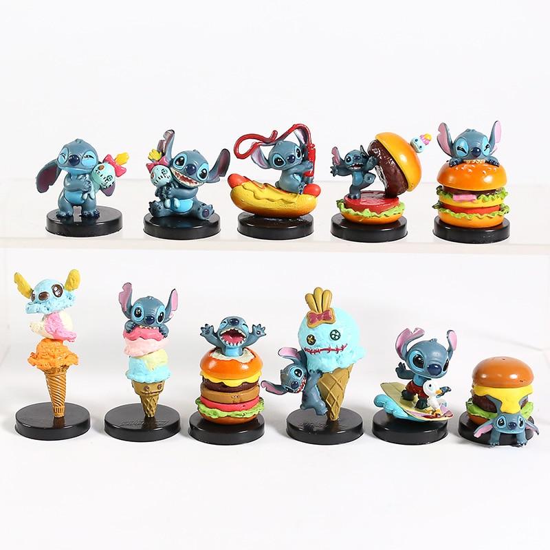 Kawaii Lilo & Stitch Scrump Hamburger Ice Cream Stitch Mini PVC Figure Collectible Toys 11pcs/set