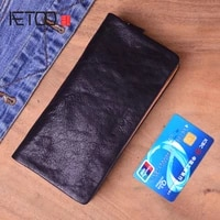 aetoo genuine cow leather long mens card wallet multifunction vintage cow skin purse man wallet leather male large clutch bag