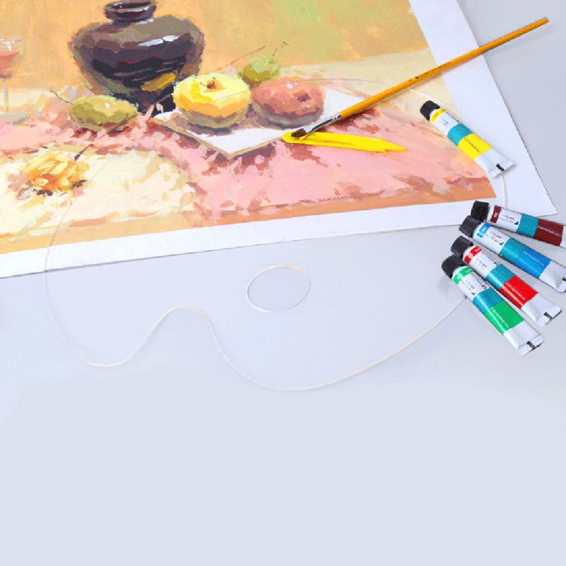 Deluxe Plastic Clear Oval Palette Acrylic Easy Clean Transparent Artist Paint Mixing Watercolor Gouache Paint Palette W91A
