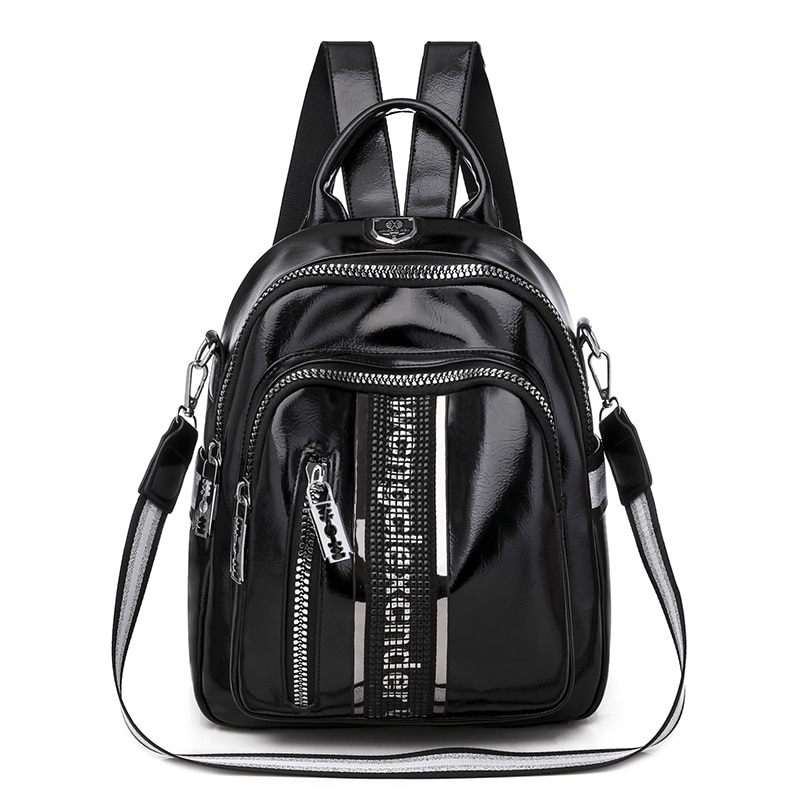 Women Backpack Multifunctional High Quality PU Leather Small Bagpack 2020 New Fashion Leisure Travel Back Pack Black Silver
