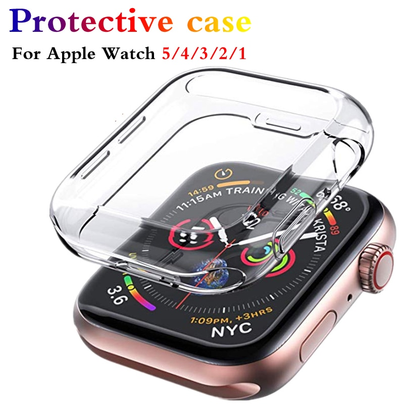 slim watch 360 cover for apple watch case 5 4 42mm 38mm soft clear tpu screen protector for iwatch 3 2 1 44mm 40mm accessories Protector case For Apple Watch 5 4 3 2 1 40MM 44MM 360 Clear TPU Cover Full Case For Iwatch 5 4 3 2 38MM 42MM Transparent Cover
