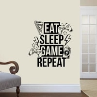 vinyl wall decal eat sleep game repeat video games joystick gaming room stickers mural