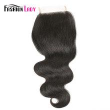 Cierre de cabello humano 4x4 Remy brasileño, cierres de onda de cuerpo, pelo Natural, moda para mujer, cierre de parte media con pelo de bebé