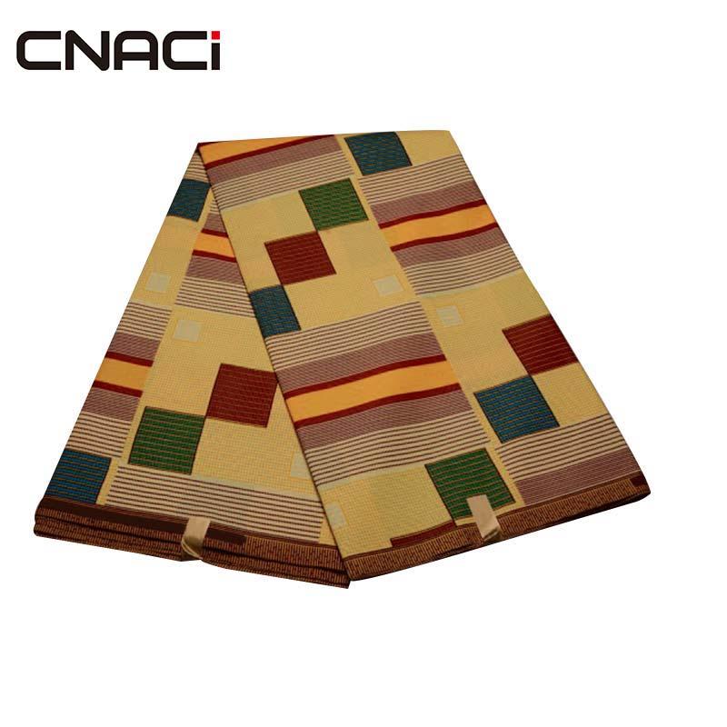 Tela de impresión de cera Africana CNACI Ghana Kente Ankara 6 yardas/pieza de poliéster verdadera cera telas africanas Ankara Tissu Africain
