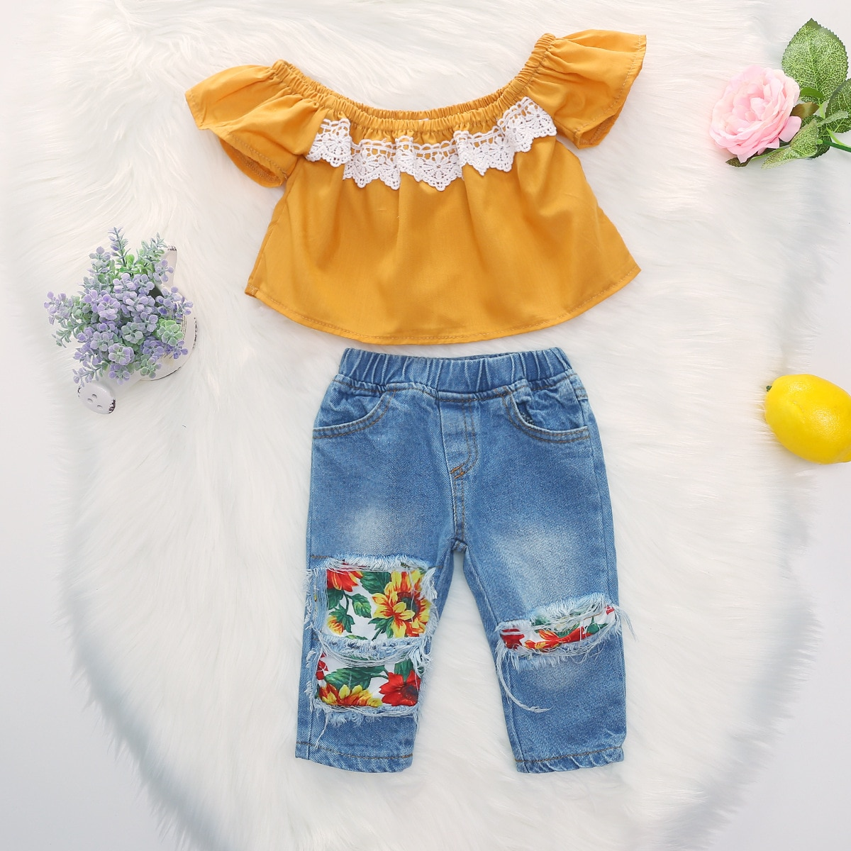 kids baby girls short fly sleeve ruffle off shoulder tops hole flower denim pants jeans toddler child clothes sets 2pcs 1-5Y