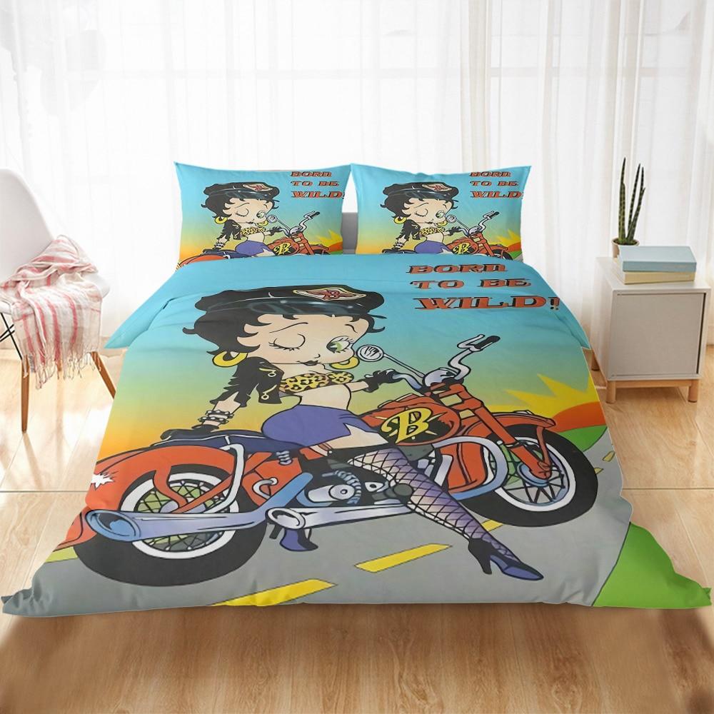 Juego de ropa de cama en 3D de Betty Boop, textiles para el hogar, funda de edredón, juego de almohada para dormitorio, cama doble de matrimonio, tamaño King para niñas y adultos