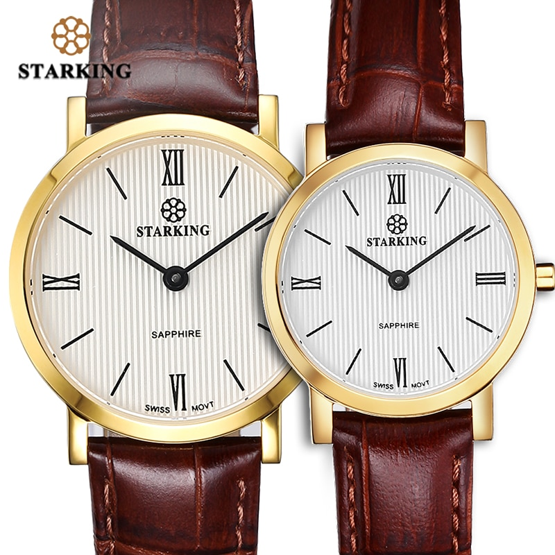 STARKING Couple Watches Ultra-Thin 6mm Man Women Quartz Wristwatch Japan Movt Sapphire Crystal Leather Belt Lover watches Clock