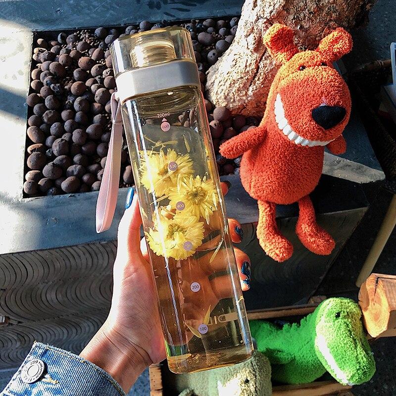 Botella de agua, libre de BPA, de plástico, cuadrada, transparente, resistente al calor, estilo coreano, botella de bebida deportiva