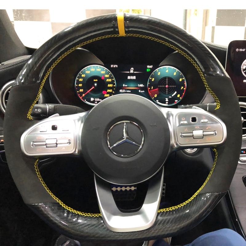 5D углеродное волокно и замша кожа Желтый Маркер рулевое колесо ручного шитья оберточная крышка подходит для Mercedes-Benz A-Class W177 2018-2019
