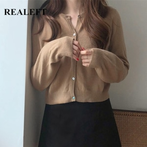 REALEFT 2021 New Autumn Winter Lady Knitted Cardigan Korean Style Solid Color Casual Loose Short Sweaters Cardigans Female Tops